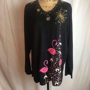 NWOT Quacker Factory Flamingo Embellished Sweater